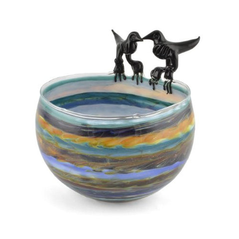 Jim Loewer Striped Blown Glass Bowl with Two Birds, Multicolor - The Barrington Garage