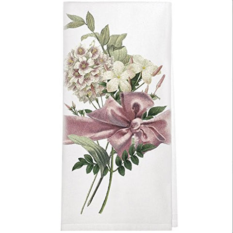 Montgomery Street Flower Bouquet with Pink Bow Cotton Flour Sack Dish Towel - The Barrington Garage