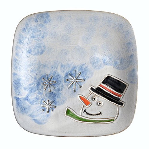 MudWorks Pottery Carved Snowman 8-inch Square Plate - The Barrington Garage