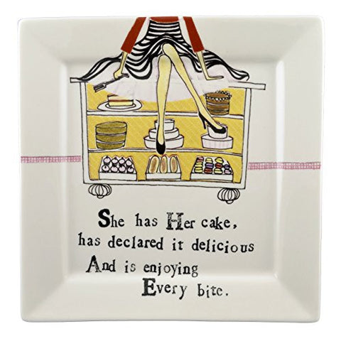 "Creative Co-op ""She Has Her Cake"" 10-inch Square Plate - The Barrington Garage"