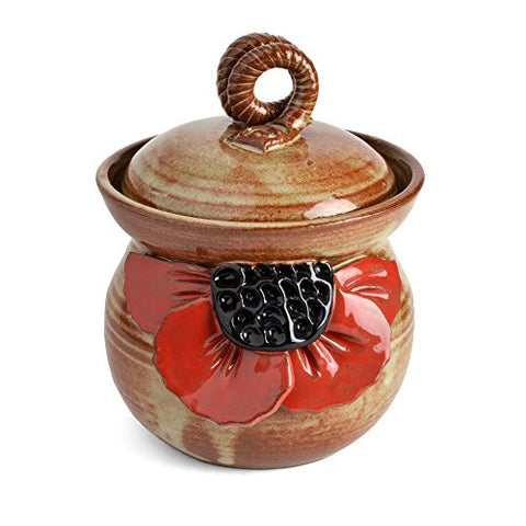 MudWorks Pottery Red Poppy Garlic Keeper - The Barrington Garage