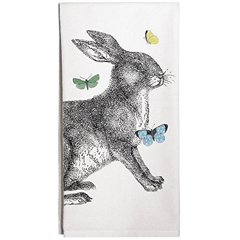 Montgomery Street Rabbit with Butterflies Cotton Flour Sack Dish Towel - The Barrington Garage