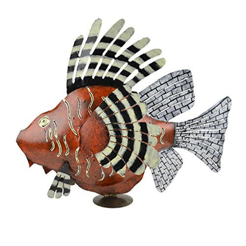 Indonesian Handcrafted Fish Metal Candle Lantern, Red - The Barrington Garage