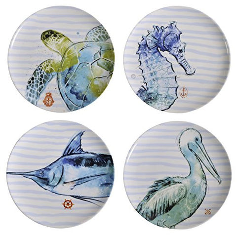 Creative Co-op Sea Creatures 8-inch Stoneware Plates, Blue/Multi, Set of 4 - The Barrington Garage
