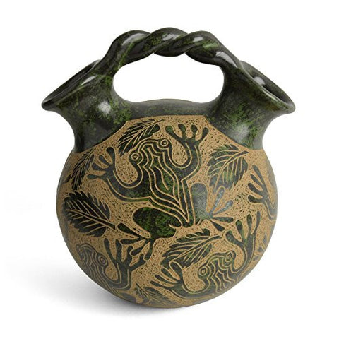 Nicaraguan Pottery 6.5-inch Wedding Jug with Frog Motif - The Barrington Garage