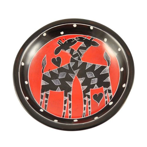 Romancing Giraffes 5-inch Carved Soapstone Bowl, Red/Black - The Barrington Garage