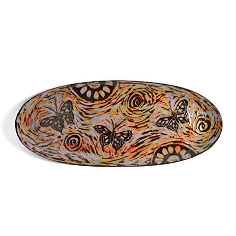 "John Hutson Pottery Butterflies 17"" Oval Serving Tray, Multicolor - The Barrington Garage"