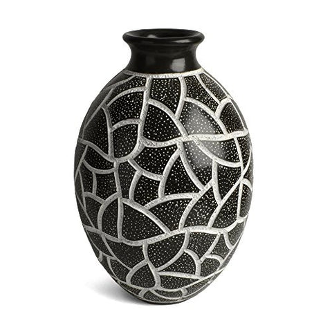 "Nicaraguan Pottery Starry Mosaic 10"" Carved Vase, Black and White - The Barrington Garage"