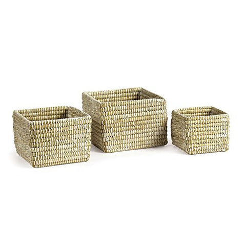 Napa Home & Garden Rivergrass Square Baskets, White, Set of 3 - The Barrington Garage
