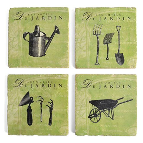 Studio Vertu Garden Tools Tumbled Marble Coasters, Set of 4 - The Barrington Garage