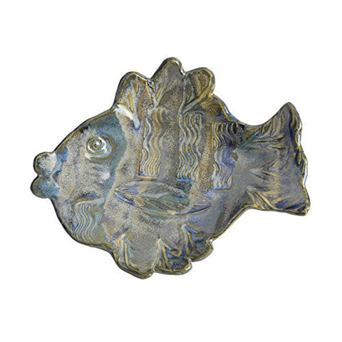 Terry Acker Pottery 7-inch Fish Dish, Multi-Blues - The Barrington Garage