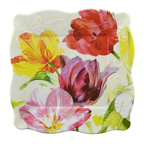 Merritt Watercolor Tulips 8-inch Square Melamine Plate, Set of 4 - The Barrington Garage