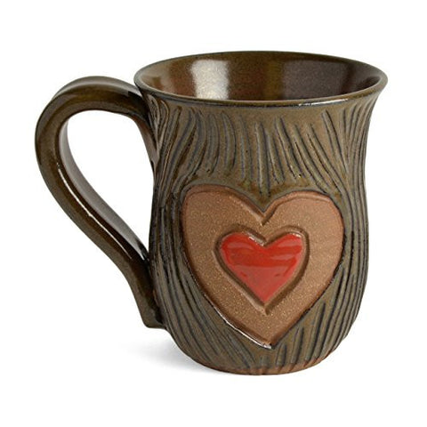 MudWorks Pottery Carved Heart Mug - The Barrington Garage