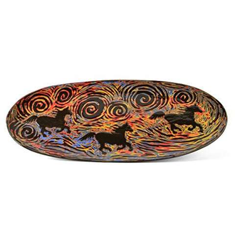 "John Hutson Pottery Horses 17"" Oval Serving Tray, Multicolor - The Barrington Garage"