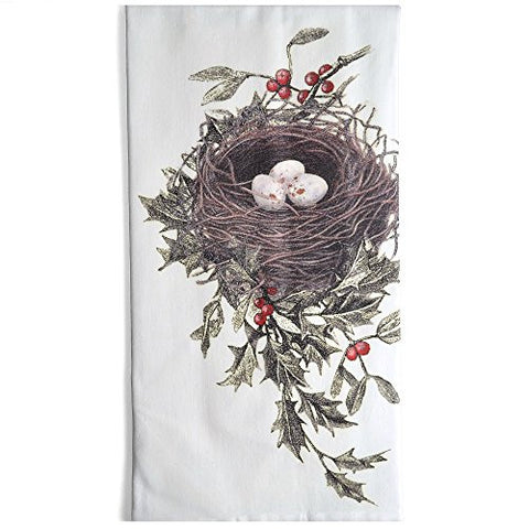 Montgomery Street Bird's Nest and Holly Cotton Flour Sack Dish Towel - The Barrington Garage