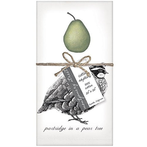 Montgomery Street Partridge in a Pear Tree Cotton Napkins, Set of 4 - The Barrington Garage