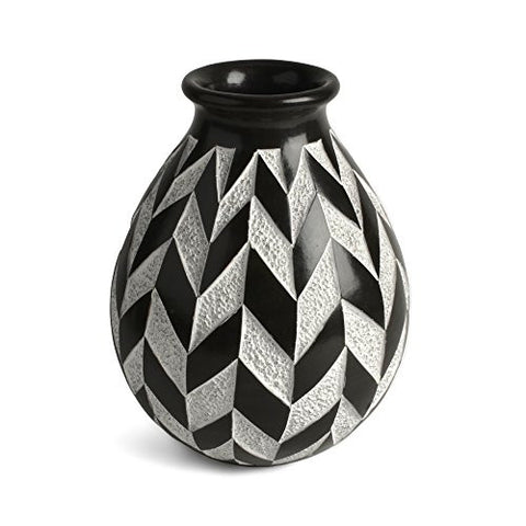 "Nicaraguan Pottery Chevron 6.5"" Carved Vase, Black and White - The Barrington Garage"