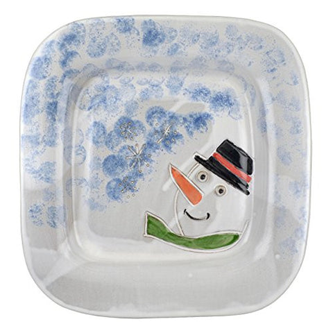 MudWorks Pottery Carved Snowman 14-inch Square Platter - The Barrington Garage