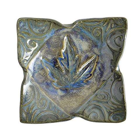 Terry Acker Pottery 4.5-inch Square Leaf Dish, Multi-Blues - The Barrington Garage