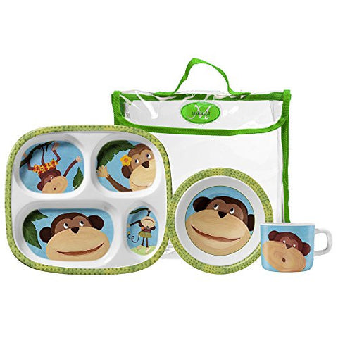Merritt Monkey Business Children's Melamine Dinnerware Gift Set - The Barrington Garage