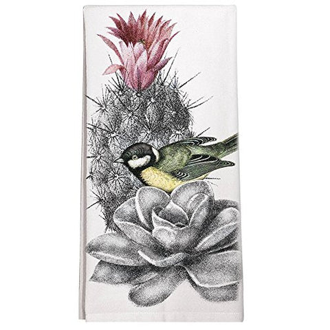 Montgomery Street Bird on a Cactus Cotton Flour Sack Dish Towel - The Barrington Garage