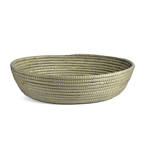 Senegalese Hand Woven Oval Bread Basket, Silver - The Barrington Garage