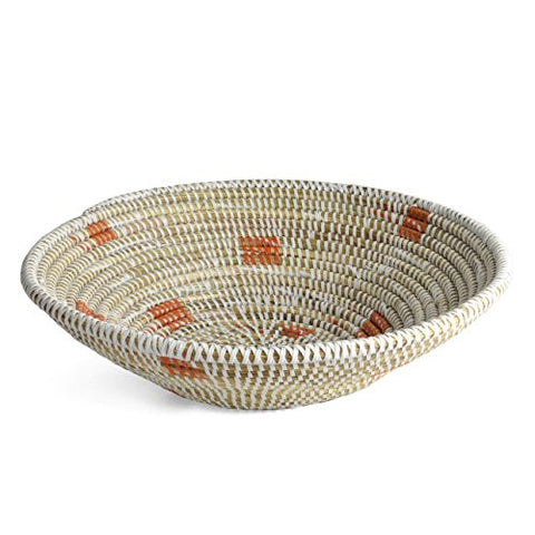 Senegalese Hand Woven 11.5-inch Round Basket, White/Orange - The Barrington Garage