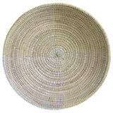African Fair Trade Delta Handwoven Round Table Basket, Cream and White