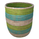African Fair Trade 13-inch Handwoven Open Hamper Basket, Aqua/Green/White