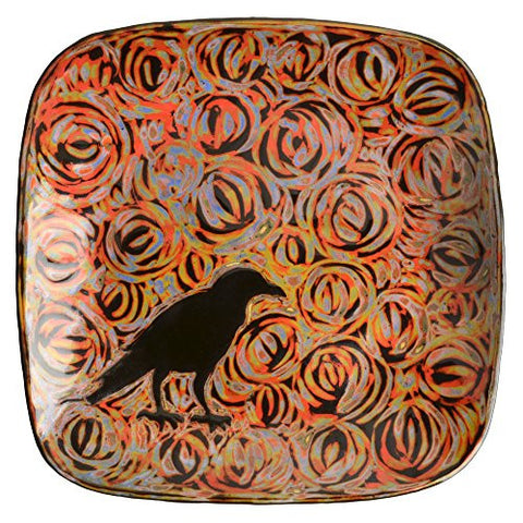 "John Hutson Pottery Raven 7.5"" Square Salad Plate, Red/Multi - The Barrington Garage"