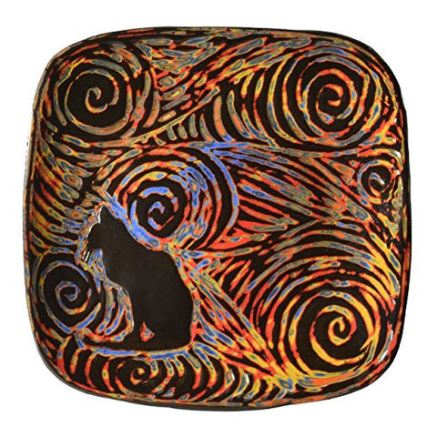 "John Hutson Pottery Black Cat 8.5"" Square Plate, Multicolor - The Barrington Garage"