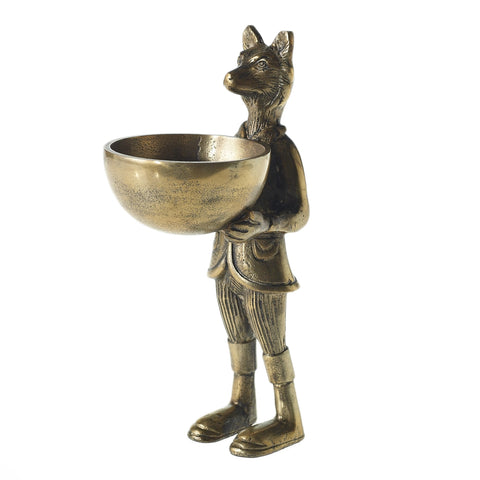 Accent Decor Eric and Eloise Collection 14-inch Brass Figurine with Bowl, Fox