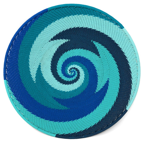 Fair Trade Zulu Telephone Wire 8-inch Platter Basket, African Ocean
