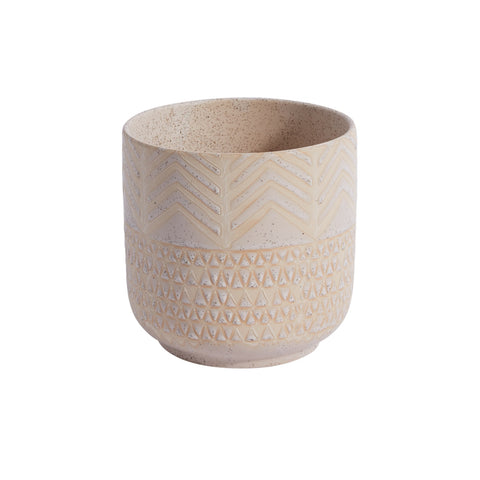 Accent Decor Indo 5.25-inch Ceramic Pot, Cream