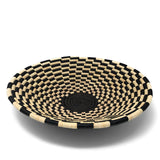 African Fair Trade Handwoven 16-inch Raffia Basket, Black/Tan Check