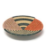African Fair Trade Terra Cotta Striped Handwoven Raffia and Sisal Basket, Large
