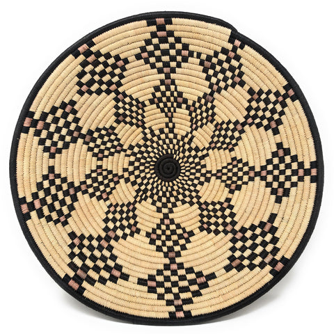 African Fair Trade Handwoven 16-inch Raffia Basket, Black/Tan Diamond Check