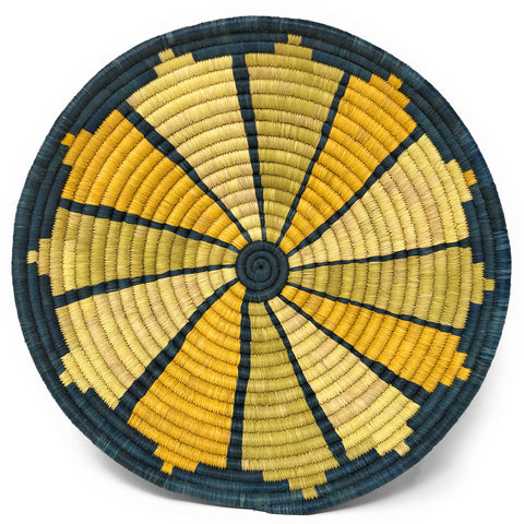 African Fair Trade Handwoven Raffia Basket, Medium, Blue/Gold