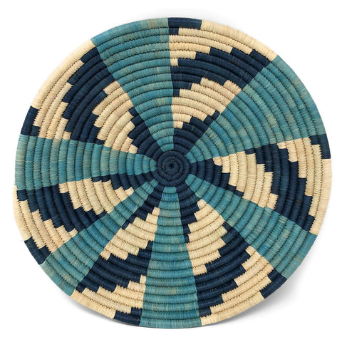 African Fair Trade Handwoven Raffia Basket, Large, Blue/Ivory