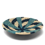African Fair Trade Handwoven Raffia Basket, Small, Blue/Ivory
