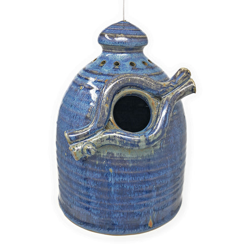 Anthony Stoneware Branch Motif Bird House, French Blue