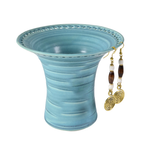 Barb Lund Pottery Earring Holder, Turquoise