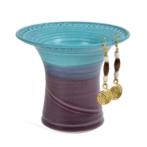 Barb Lund Pottery Earring Holder, Turquoise/Amethyst