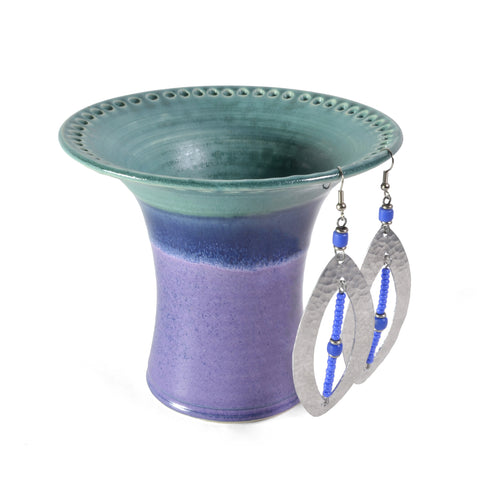 Barb Lund Pottery Earring Holder, Turquoise/Purple
