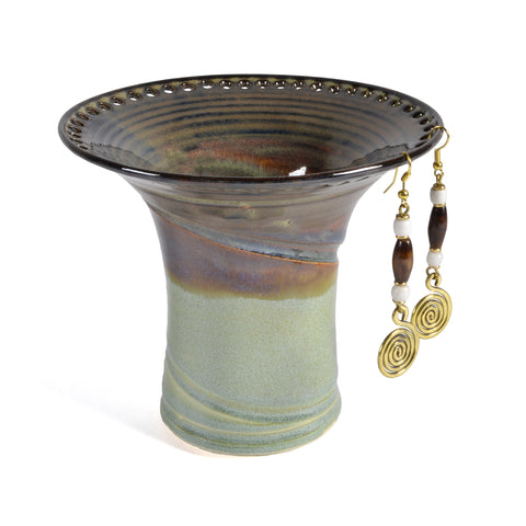 Barb Lund Pottery Earring Holder, Waterfall Brown/Lime Green