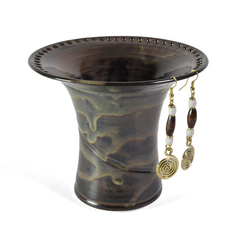 Barb Lund Pottery Earring Holder, Waterfall Brown