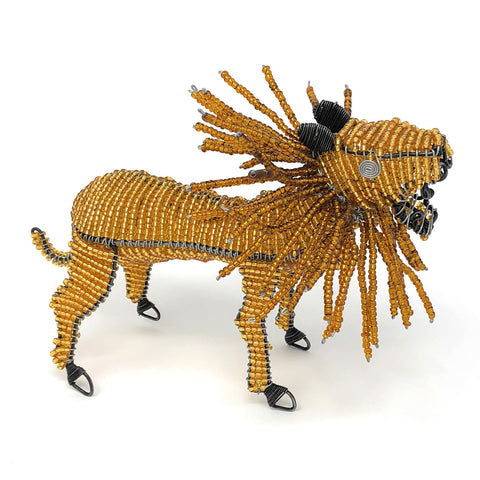 African Fair Trade Beaded Lion Figurine
