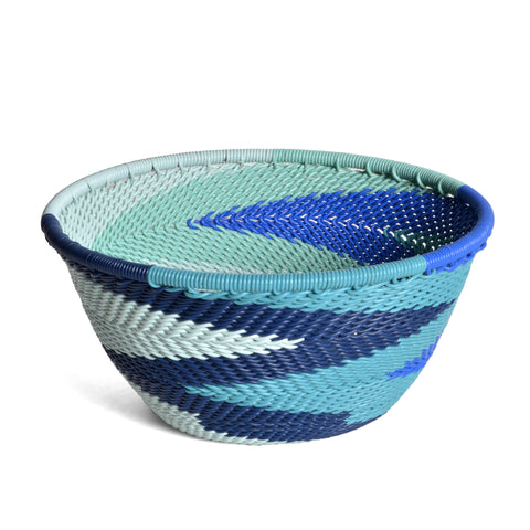 "Fair Trade Zulu Telephone Wire 4.5"" Round Bowl, African Ocean - The Barrington Garage"