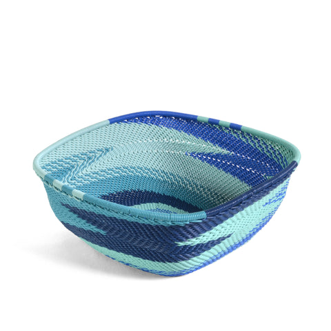 "Fair Trade Zulu Telephone Wire 6.25"" Square Bowl, African Ocean - The Barrington Garage"