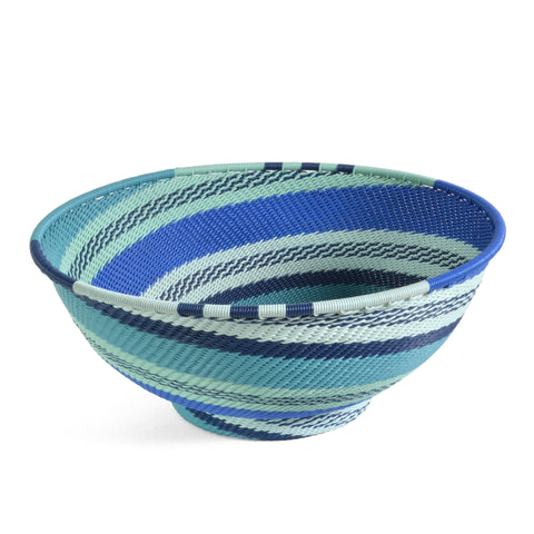 "Fair Trade Zulu Telephone Wire 8"" Round Pedestal Bowl, African Ocean - The Barrington Garage"